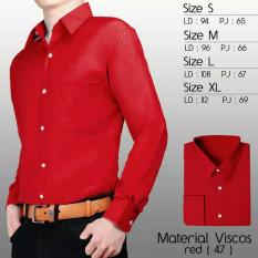 Kedai_Baju Kemeja Formal Polos Lengan Panjang - Merah Cabe (47) - Size S