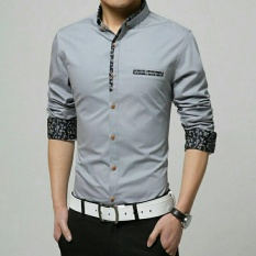 Perbandingan Harga Kedai Baju Kemeja Pria Lengan Panjang Korean Style Kemeja Slimfit Nando Abu Di Indonesia