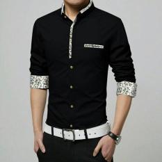 Harga Kedai Baju Kemeja Pria Lengan Panjang Korean Style Kemeja Slimfit Nando Hitam Branded