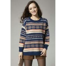 Spesifikasi Kedai Baju Sweater Motif Batik Baju Tebal Baju Jalan Kaos Sweater Rajut Sweater Lengan Panjang Nr Navy Lengkap Dengan Harga
