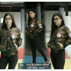 KEI'S jaket bomber wanita USA ARMY bahan despo fashion wanita