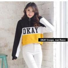 KEI'S jaket sweater wanita OKAY cropee bahan fleece fashion wanita terbaru