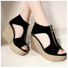 KEKE SHOES-Sandal Wedges Wanita Resleting SDW76
