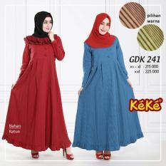 Kekesumut Baju Gamis Katun Dewasa wanita GDK 241 Pusat Grosir Busana Muslim Keke Branded Original