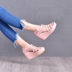 Beli Bebbishoes Shena Wedges Heels Pink Cicilan