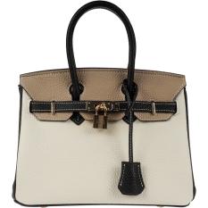 Kelly Eropa Dan Amerika Warna Hit Tas Model Hermes Kunci Tas Tangan (Hitam Dengan Warna Putih Kecil)