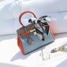 Kelly Kulit Perempuan Baru Memukul Warna Tas Selempang Tas Model Hermes (Abu-Abu Dengan Oranye)