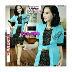 Kembar Kebaya Kutubaru Mini Dress Elnira Biru Ocean Ready Size M, L & XL
