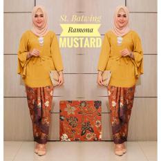 Kembar Stelan Blouse Batwing Plus Rok Lilit Ramona Kuning Mustard ( Tanpa Pasmina)