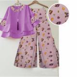 Harga Kembar Stelan Celana Kulot Ketrin Pink Muda Blouse Ungu Termurah