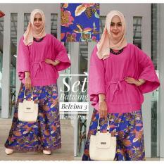 Kembar Stelan Celana Kulot Plus Blouse Batwing Belvina3 Warna Pink (No Pasmina)
