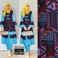 Kembar Stelan Celana Plus Blouse Friska Warna Biru Tanpa Pasmina Original