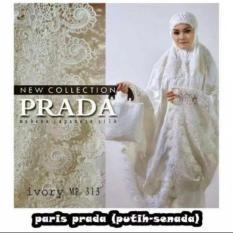Harga Kembar Stelan Mukena Sutra Paris Broken White Full Bordir Keong Impor Branded