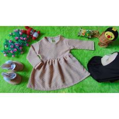 kembarshop - EKSKLUSIF Paket Gamis Bayi plus Jilbab dan Sepatu Boots Bayi Polka Creamy Hijab Hitam 0-12 bulan