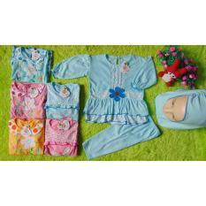 kembarshop - paket usaha - paket jualan - grosir 6pcs baju muslim gamis bayi plus hijab mix motif 0-1th warna random