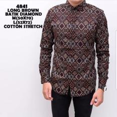 Kemeja Baju Batik Pria Model Terbaru Model Super Keren Brown Diamond Diskon Banten