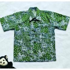 Kemeja Batik Anak Katun Hijau lumut Kualitas Bagus Murah