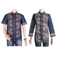 Kemeja Batik Blouse Batik Couple / Batik Couple Kemeja Batik Lengan Pendek Blouse Batik Lengan Panjang - Biru