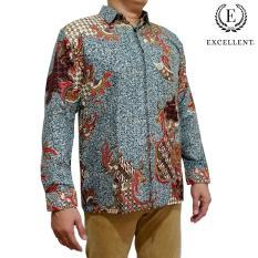 Jual Kemeja Batik Excellent Kilap Panjang Emas Excellent Abu Abu Murah