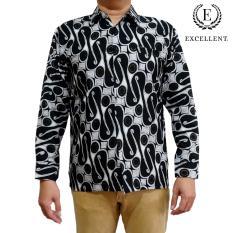 Kemeja Batik Excellent - Kilap Panjang Emas - Hitam Formal