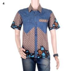 Kemeja Batik  Hem Batik Kombinasi Dengan Saku Paspol Winata - Motif 4