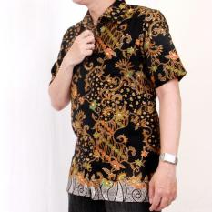 Kemeja Batik Heritage Royal Peach Flower Tail Slim Fit Hitam - Cd76a3