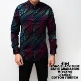 Harga Kemeja Batik Pria Gradation Black Blue Slimfit Katun Baju Cowok Batik Yang Murah Dan Bagus