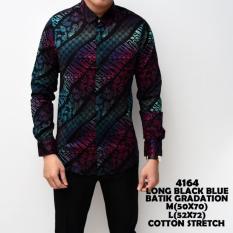 Spesifikasi Kemeja Batik Pria Gradation Black Blue Slimfit Katun Baju Cowok Batik Universal Terbaru