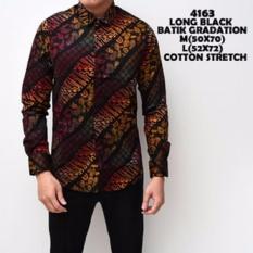 Jual Kemeja Batik Pria Gradation Black Panjang Slimfit Katun Baju Batik Murah Di Jawa Barat