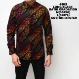 Jual Kemeja Batik Pria Gradation Black Panjang Slimfit Katun Baju Batik Murah