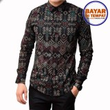 Toko Kemeja Batik Pria Lengan Panjang Batik Songket Long Black Mck