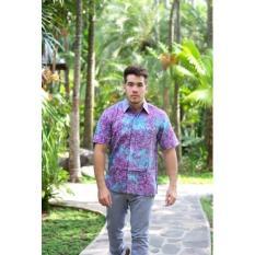 Kemeja Batik Baju Kerja Pria Lengan Pendek Formal Casual Kantor SP372 Ungu ArcobalenoKemeja Batik Casual Lengan Pendek dengan DESAIN EKSKLUSIF dan ELEGAN