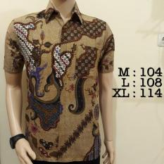 Baju Kemeja Batik Pria Lengan Pendek Khas Pekalongan Murah Bagus Coklat