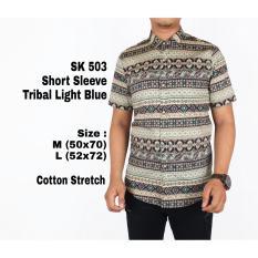 Jual Cepat Kemeja Batik Pria Lengan Pendel Sk 503 Tribal Light Blue