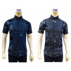 Beli Kemeja Batik Pria Slimfit 7083 Dark Blue Koko Kombinasi Muslim Jeans Murah Indonesia