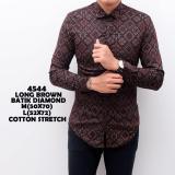 Jual Kemeja Batik Pria Songket Murah Baju Kerja Cowok Slimfit Lengan Panjang Kaos Casual Keren Baru