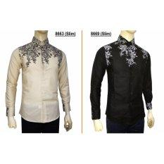 Harga Kemeja Batik Slimfit 8669 Black Kombinasi Muslim Koko Jeans Pria Terbaik