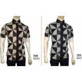Harga Kemeja Batik Slimfit Pria 7008 Brown Kombinasi Muslim Koko Jeans