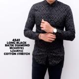 Spesifikasi Kemeja Batik Pria Songket Black Panjang Kerja Kantor Slimfit Batik Cowok Paling Bagus
