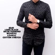 Jual Kemeja Batik Pria Songket Black Panjang Kerja Kantor Slimfit Batik Cowok Universal Branded