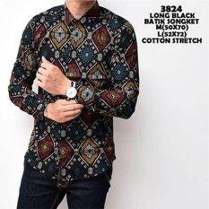 Harga Kemeja Batik Songket Black Pria Cowok Panjang Kerja Kantor Slimfit Katun Baju Batik Fullset Murah