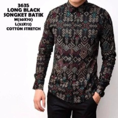 Tips Beli Kemeja Batik Songket Black Pria Panjang Kemeja Kerja Kantor Slimfit Ukuran L Rex Mart