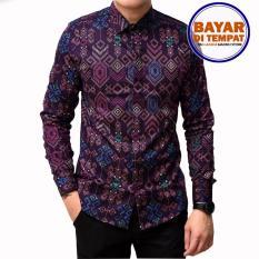 Kemeja Batik Songket Pria Slimfi Batik Songket Lengan Panjang Kemeja Pria Strip Purple