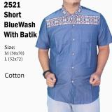 Jual Kemeja Casual 2521 Blue Wash With Batik Murah