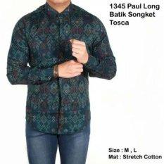 Beli Kemeja Casual Kantor Formal Batik Songket Sk 208 Dark Green Long Sleeve Pakai Kartu Kredit