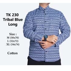Beli Kemeja Casual Pria Lengan Panjang Tk230 Tribal Blue Kredit Dki Jakarta