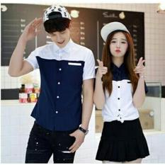 LF Kemeja Pasangan Pria dan Wanita Lengan Pendek MURAH / Tshirt Baju Cewek Cowok 2 Warna / Rok Pasangan (uebl itewh) NR - Biru putih D2C