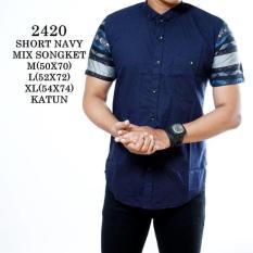 Kemeja Cowok Lengan Pendek Printing Motif Abstrack Baju Pria Kuliah Kemeja Diskon 50
