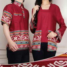 Kemeja Fashion Fashion Couple Motif Batik Slimfit Zi Couple Red Dki Jakarta