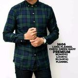 Beli Kemeja Flanel Flannel Pria Navy Green Panjang Dengan Kartu Kredit